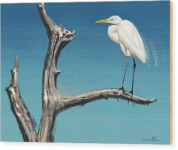 Wood Print featuring the digital art Egret by Aaron Blaise