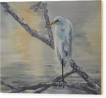 Egret At Dusk Wood Print by Patricia Pushaw
