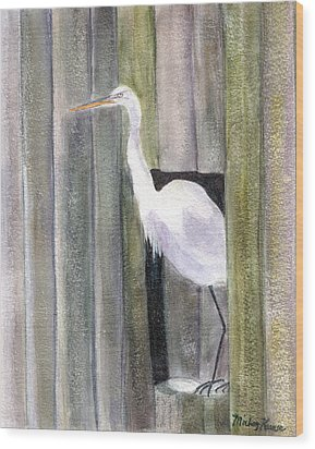 Egret At John's Pass Wood Print by Mickey Krause