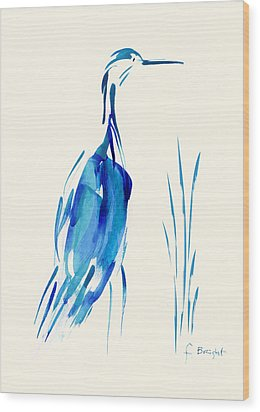 Egret In Blue Mixed Media Wood Print