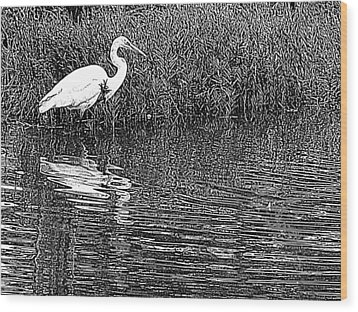 Wood Print featuring the photograph Egret In The Thicket by Suzy Piatt