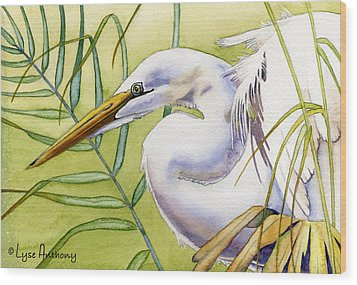 Egret Wood Print by Lyse Anthony