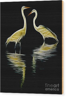 Wood Print featuring the photograph Egret Pair by Jerry Fornarotto