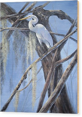 Egret Perch Wood Print by Mary McCullah