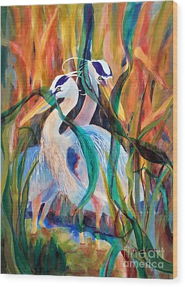 Egrets In Red 2            Wood Print by Kathy Braud