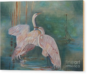 Egrets In The Mist Wood Print