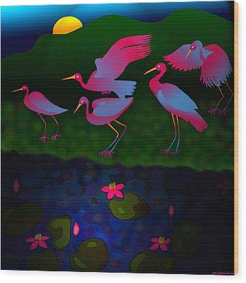 Egrets Wood Print by Latha Gokuldas Panicker