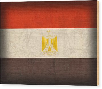 Egypt Flag Distressed Vintage Finish Wood Print by Design Turnpike