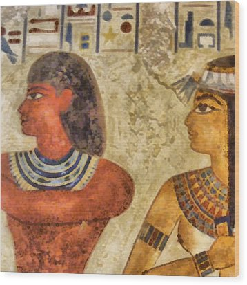 Wood Print featuring the painting Egypt Pharaohs by Georgi Dimitrov