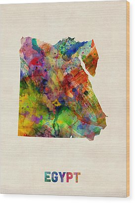 Egypt Watercolor Map Wood Print by Michael Tompsett