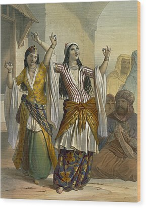 Egyptian Dancing Girls Performing Wood Print by Emile Prisse d'Avennes