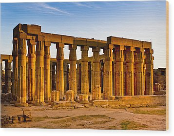 Egyptian Temple Ruins In Luxor Wood Print by Mark E Tisdale