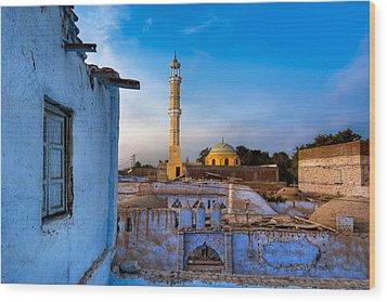Egyptian Village Minaret At Dusk Wood Print by Mark E Tisdale