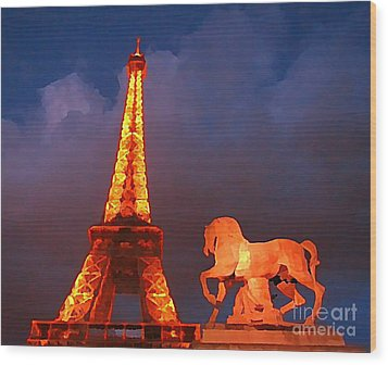 Eiffel Tower And Horse Wood Print by John Malone