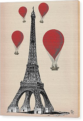 Eiffel Tower And Red Hot Air Balloons Wood Print by Kelly McLaughlan
