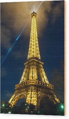 Wood Print featuring the photograph Eiffel Tower At Night by Avian Resources