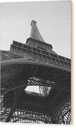 Eiffel Tower B/w Wood Print by Jennifer Ancker