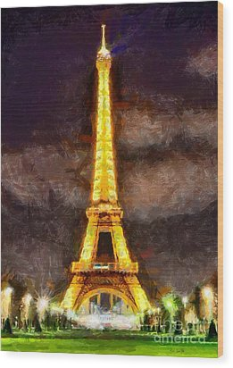Wood Print featuring the digital art Eiffel Tower By Night by Kai Saarto