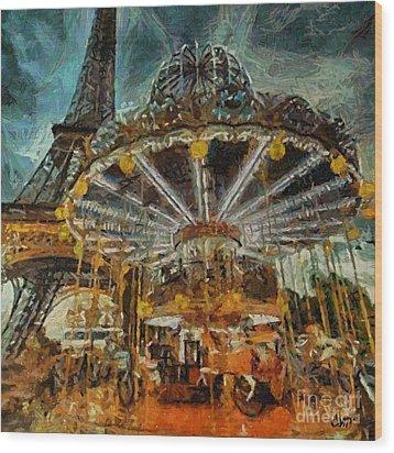 Eiffel Tower Carousel Wood Print
