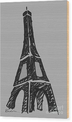 Eiffel Tower Graphic Wood Print by Robyn Saunders
