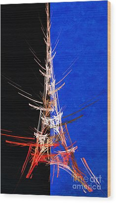 Eiffel Tower In Red On Blue  Abstract  Wood Print by Andee Design