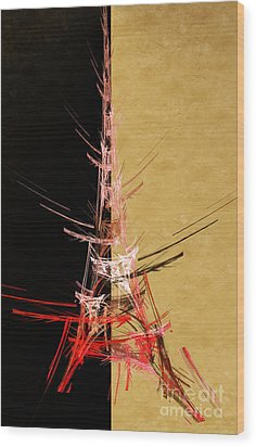 Eiffel Tower In Red On Gold  Abstract  Wood Print by Andee Design