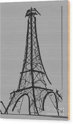 Eiffel Tower Lines Wood Print