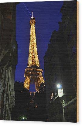 Eiffel Tower Paris France At Night Wood Print by Patricia Awapara