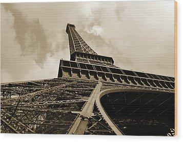 Eiffel Tower Paris France Black And White Wood Print by Patricia Awapara