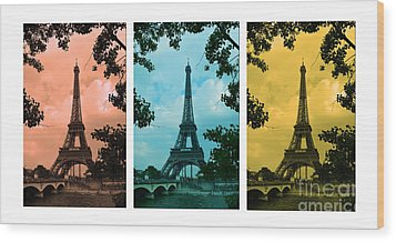 Eiffel Tower Paris France Trio Wood Print by Patricia Awapara