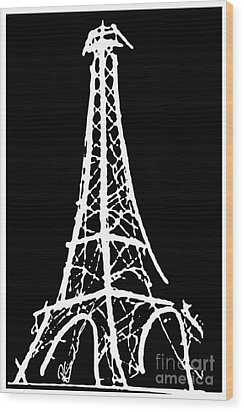 Eiffel Tower Paris France White On Black Wood Print