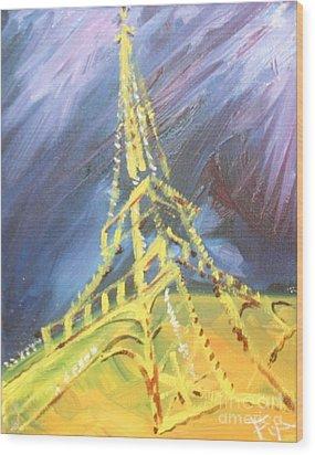 Eiffel Tower Paris Night Wood Print by PainterArtist FIN