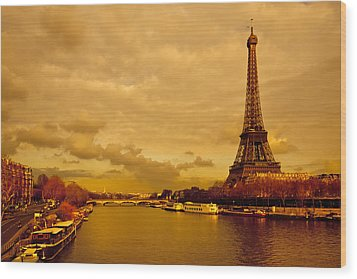 Eiffel Tower Rising Over The Seine Wood Print by Mark E Tisdale