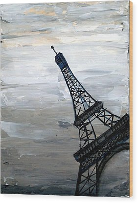 Eiffel Tower Silhouette Wood Print by Holly Anderson