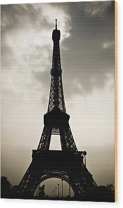 Eiffel Tower Silhouette Wood Print