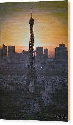 Eiffel Tower Sunset Wood Print by Debra     Vatalaro