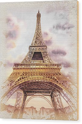 Wood Print featuring the painting Eiffel Tower Vintage Art by Irina Sztukowski