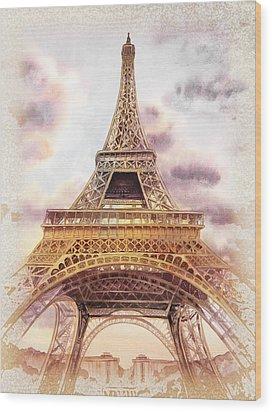 Eiffel Tower Vintage Art Wood Print by Irina Sztukowski