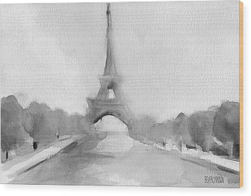Eiffel Tower Watercolor Painting - Black And White Wood Print