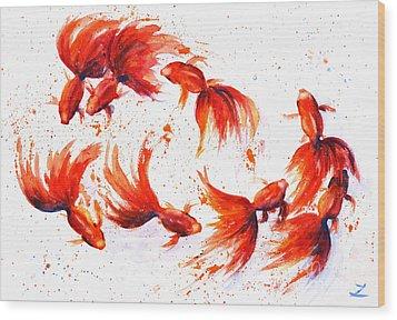 Eight Dancing Goldfish  Wood Print by Zaira Dzhaubaeva