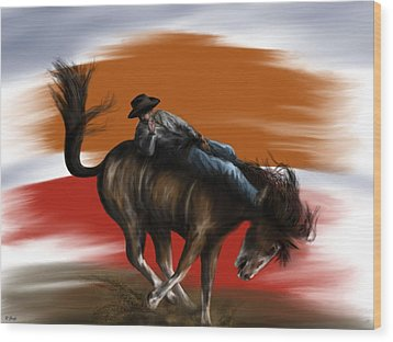 Eight Seconds - Rodeo Bronco Wood Print by Ron Grafe