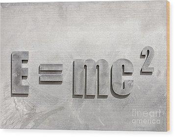 Einstein Sculpture Emc2 Canberra Australia Wood Print by Colin and Linda McKie