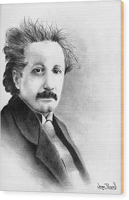 Wood Print featuring the drawing Einstein by Wayne Pascall