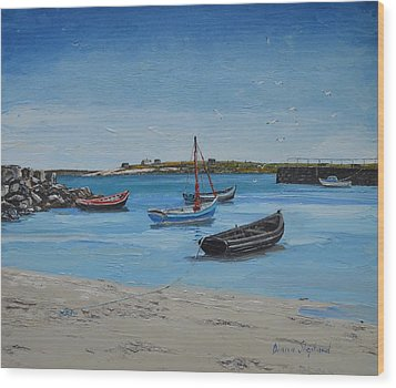 Eirlough Boats Roundstone Connemara Ireland Wood Print