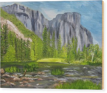 El Capitan And The River Wood Print by Sally Jones