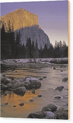 El Capitan Sunset And The Merced River Wood Print