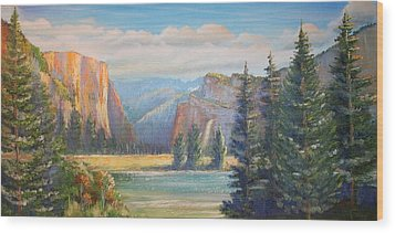 El Capitan  Yosemite National Park Wood Print by Remegio Onia