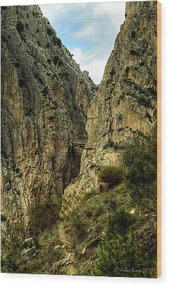 Wood Print featuring the photograph El Chorro View Of The Railway Bridge by Julis Simo