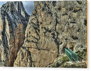 Wood Print featuring the photograph El Chorro View With Railway Construction by Julis Simo