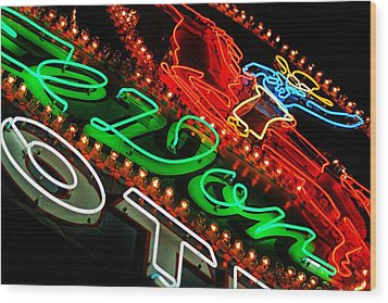Wood Print featuring the photograph El Don Neon by Daniel Woodrum